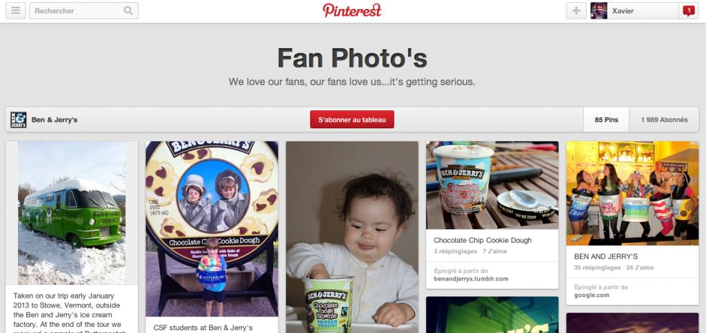 Pinterest laisse la possibilité aux marques de donner l'acces à un des boards à leurs clients