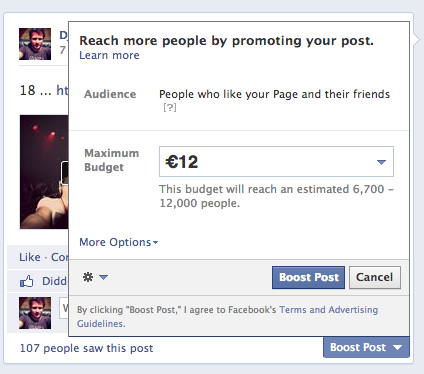 Facebook ads et promoted posts