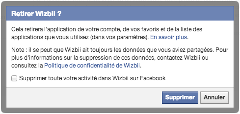Supprimer une application Facebook