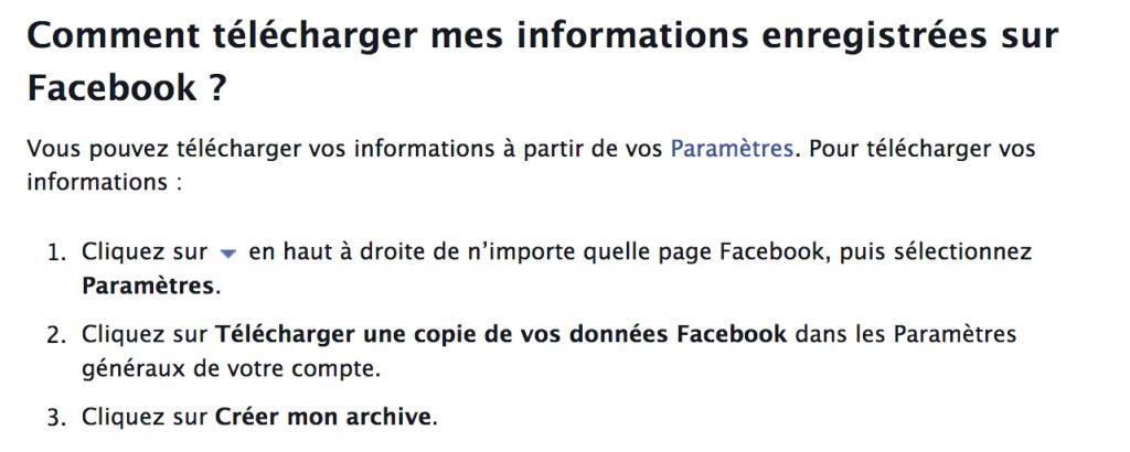 sauvegarder données facebook