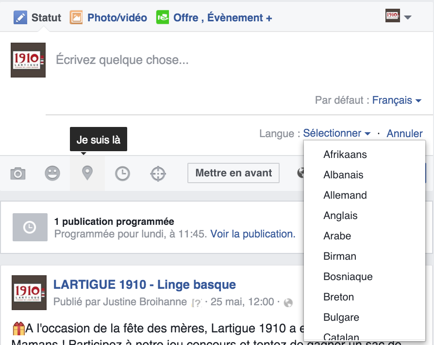 choix langue publication facebook