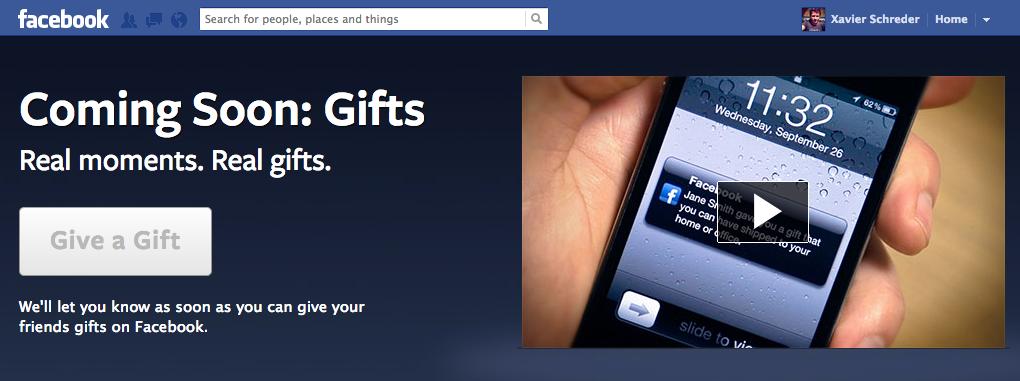 Facebook Gifts les cadeaux à vos amis directement sur Facebook