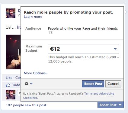 Facebook ads et promotions de publications