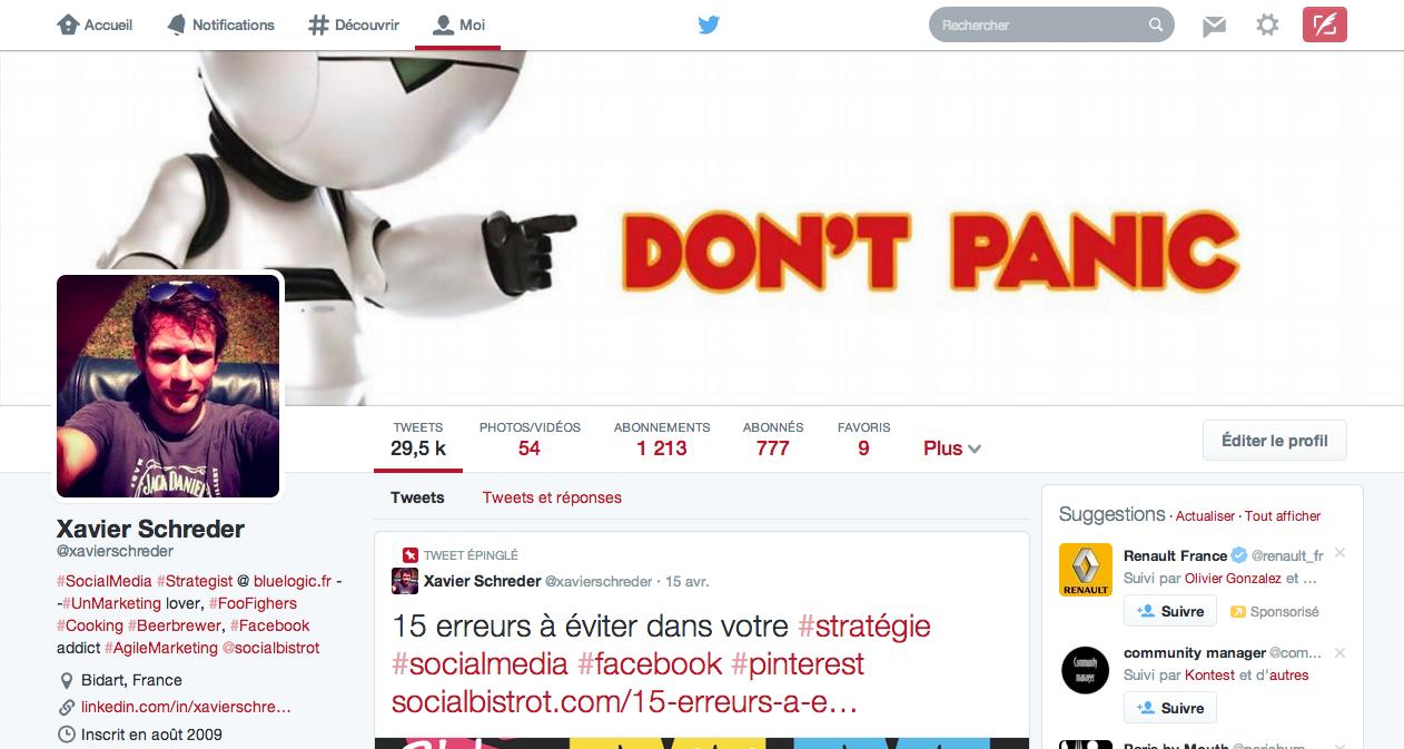 Nouveau profil Twitter